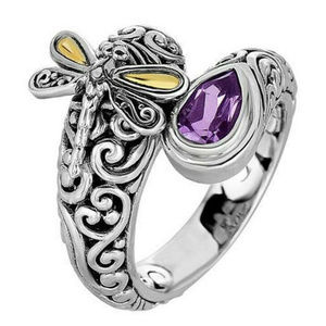 Vintage Style Dragonfly Amethyst Ring 6